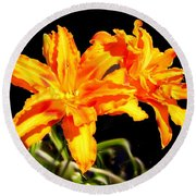 Orange Lily Twins Round Beach Towel