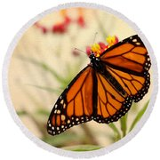 Orange Mariposa Round Beach Towel