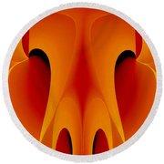 Orange Mask Round Beach Towel