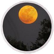 Orange Moon Round Beach Towel