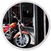 Orange Motorcycle Round Beach Towel