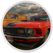 Orange Mustang Round Beach Towel