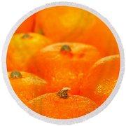 Orange Oranges Round Beach Towel