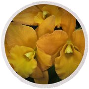 Orange Orchid Group Round Beach Towel