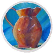 Orange Pitcher Still Life Round Beach Towel