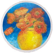 Orange Poppies In Yellow Vase Round Beach Towel