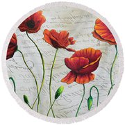 Orange Poppies Original Abstract Flower Painting By Megan Duncanson Round Beach Towel