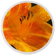Orange Rain Round Beach Towel