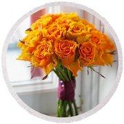 Orange Rose Wedding Bouquet Round Beach Towel