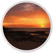 Orange Sky Round Beach Towel