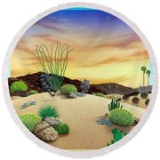 Orange Sky Sunset Round Beach Towel