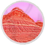 Orange Slice Mountain Round Beach Towel