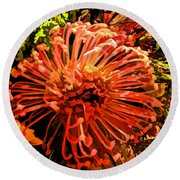 Orange Spice Floral  Round Beach Towel