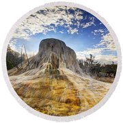 Orange Spring Mound Round Beach Towel