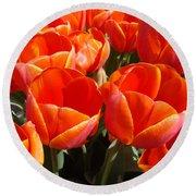Orange Spring Tulip Flowers Art Prints Round Beach Towel
