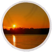 Orange Sunrise Over Dc Round Beach Towel