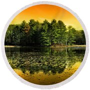 Orange Sunrise Reflection Landscape Round Beach Towel