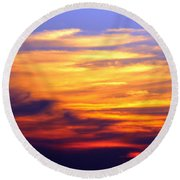Orange Sunset Sky Round Beach Towel