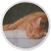 Orange Tabby Cat Round Beach Towel