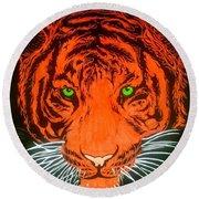 Orange Tiger Round Beach Towel