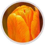 Orange Tulip Brown Texture Round Beach Towel