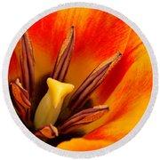 Orange Tulip Round Beach Towel