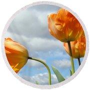 Orange Tulip Flowers Art Prints Tulips Floral Round Beach Towel