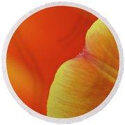 Orange Tulip Petal Detail Round Beach Towel