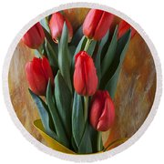 Orange Tulips In Yellow Pitcher Round Beach Towel by Garry Gay