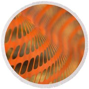 Orange Wave Round Beach Towel