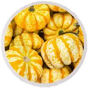 Orange Winter Squash On Display Round Beach Towel