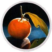 Orange With Leaf Round Beach Towel