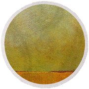 Orange With Red And Gold Round Beach Towel