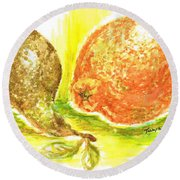 Oranges And Pears Round Beach Towel