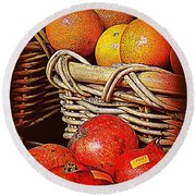 Oranges And Persimmons Round Beach Towel