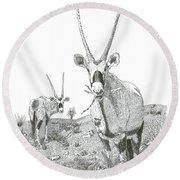 White Sands Orax  Round Beach Towel