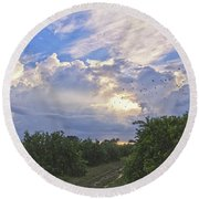 Orchard And Birds Round Beach Towel