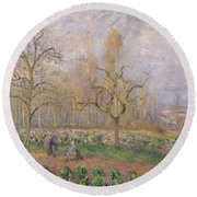 Orchard At Pontoise Round Beach Towel by Camille Pissarro