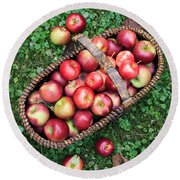 Orchard Fresh Picked Apples Round Beach Towel