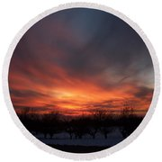 Orchard Sunset Round Beach Towel