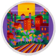 Orchard Villa Round Beach Towel