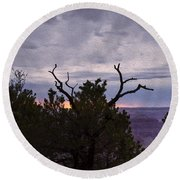 Orchestrating A Sunset At The Grand Canyon Round Beach Towel