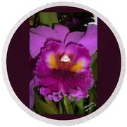 Orchid Flames Round Beach Towel