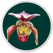 Orchid Alone Round Beach Towel