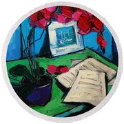 Orchid And Piano Sheets Round Beach Towel