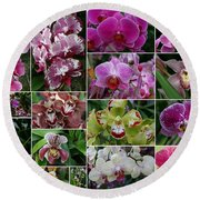 Orchid Collage 1 Round Beach Towel