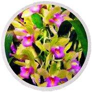 Orchid Flower Bunch Round Beach Towel