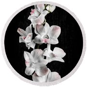 Orchid Flowers On Black Round Beach Towel