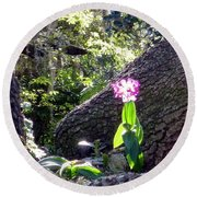 Orchid In Tree 2 Round Beach Towel