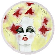 Orchid Lady Round Beach Towel